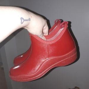 Simon Chang Red Rain Boots  Size 5